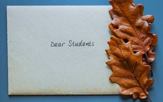Envelope addressed to students