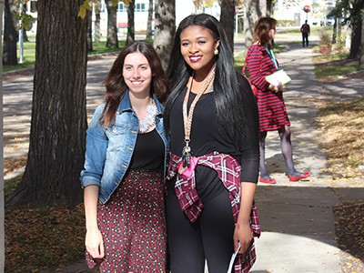 two female students outside