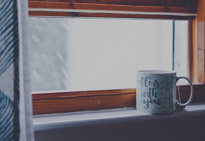 Tea mug by the window