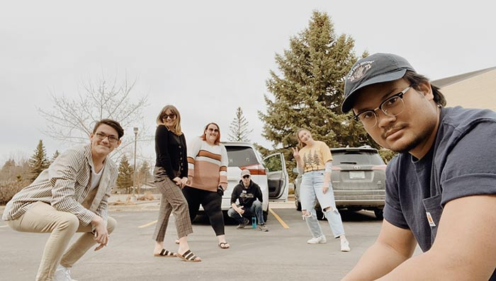 Students in parking lot